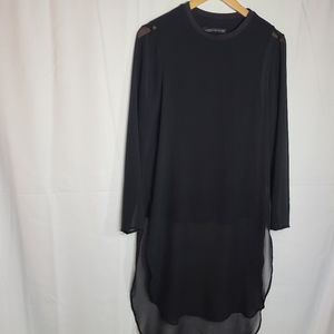 Zara Woman black shirt dress chiffon overlay